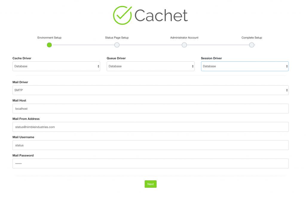 Cachet status page environment setup